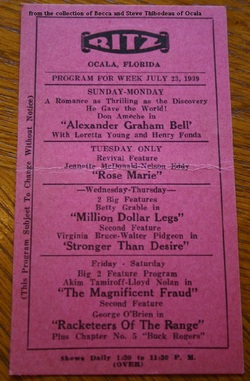 RITZ THEATRE PROGRAM - OCALA - July 23, 1939