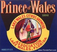 Prince of Wales Label - Lake Wales, Florida