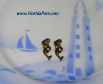 Pair of Old Brass Figural Mermaid Charms