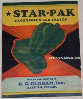 Scarce STAR-PAK VEGETABLES and FRUITS LABEL, LEESBURG, FLORIDA